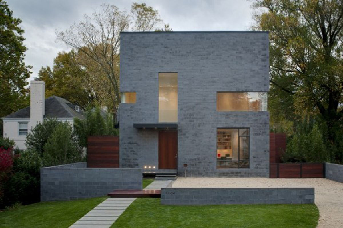 Grey Stone Square House Simple Style