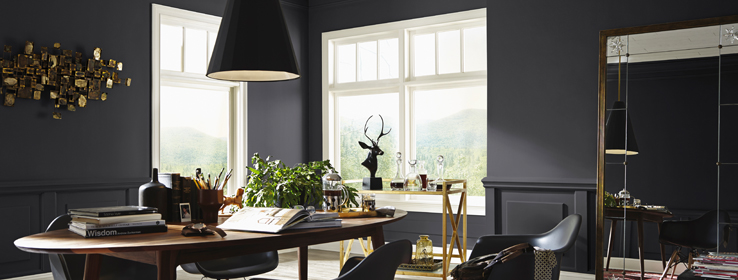 matte black living room and office inspiration