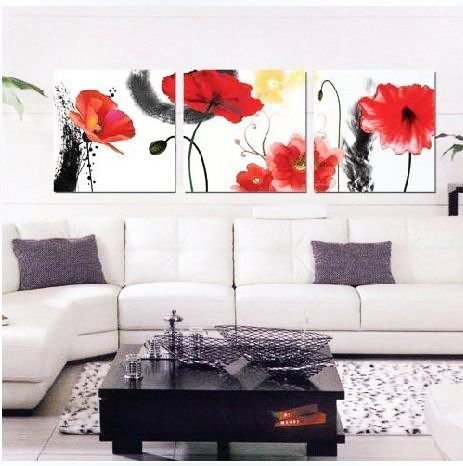 Flower design painting for Living Room Front Wall Ideas