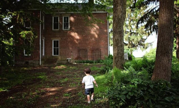 alone boy outdoors house home toddler backyard daylight lost
