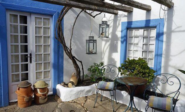 backyard seating area cozy spain rest blue