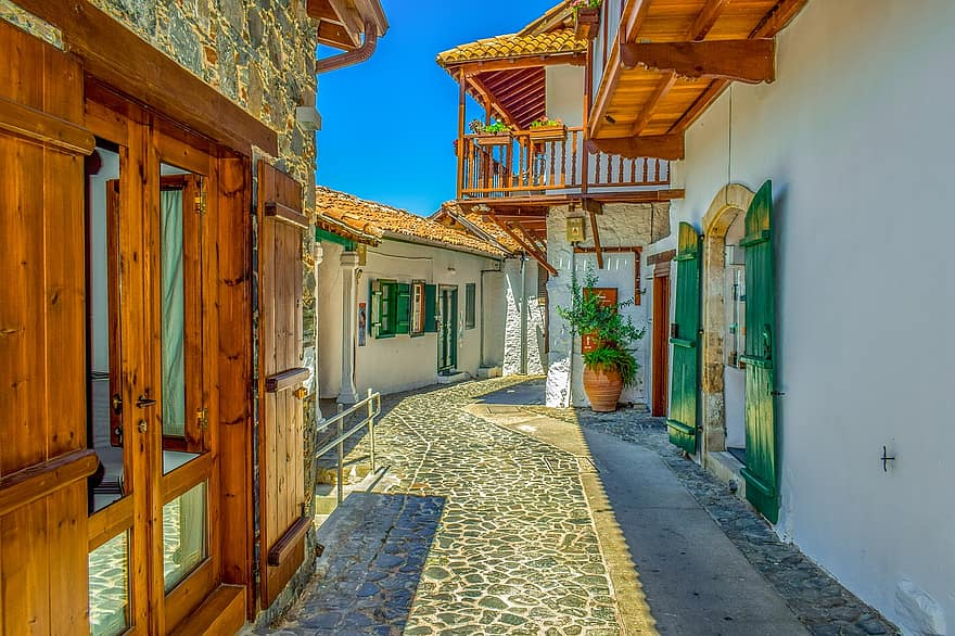cyprus kalopanayiotis architecture street summer old village houses traditional