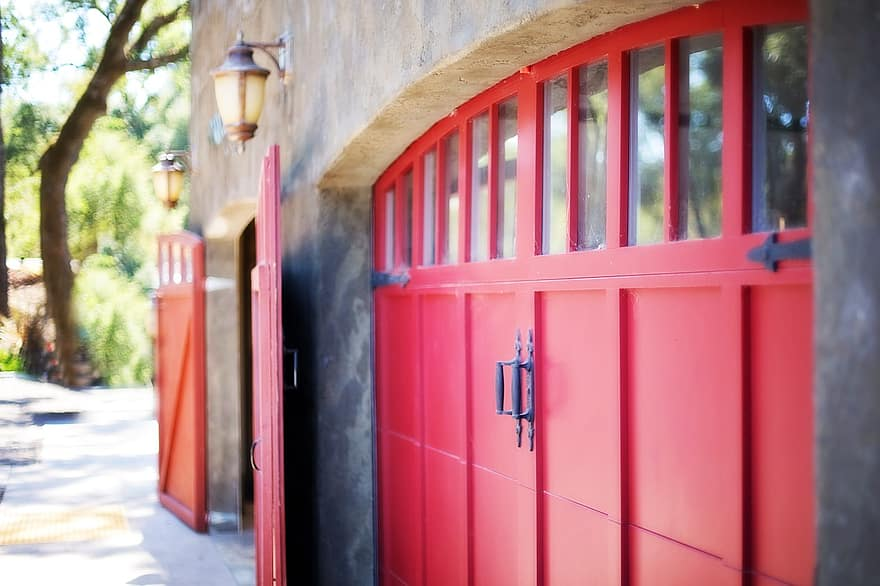 garage door door barn coach doors rustic wooden doors red