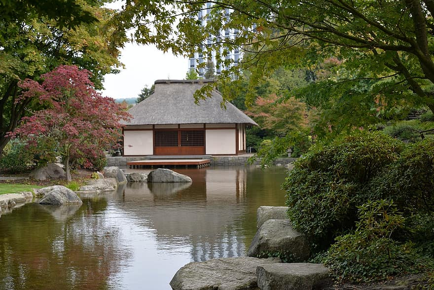 garden zen japanese hamburg germany water house reflection architecture