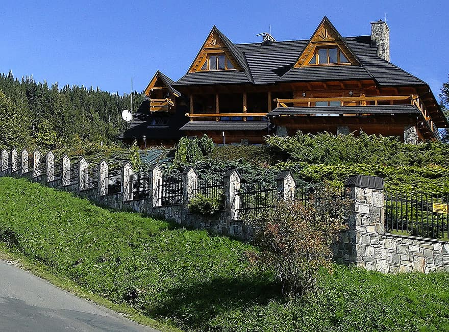 house architecture style zakopane style guest superstructure autumn sunny day hill