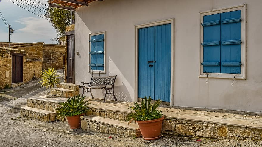 house facade architecture traditional village street exterior tochni cyprus