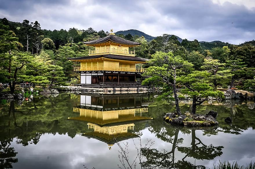 japanese garden temple pagoda tranquil pond peaceful traditional calm tranquility