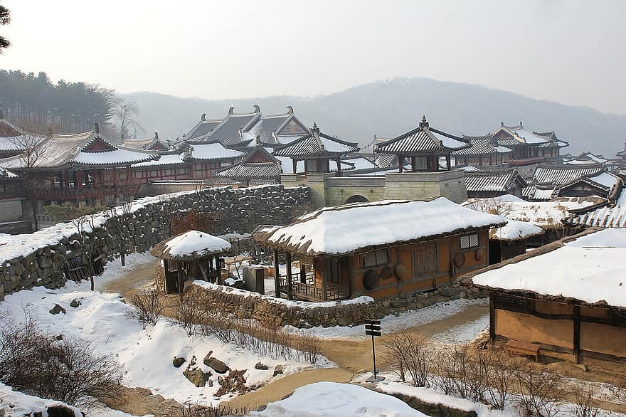korean village snow traditional village korea folk village snow winter tradition asian