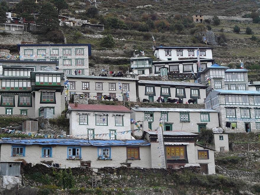 namche bazaar sherpa everest khumbu houses a hotel guest house