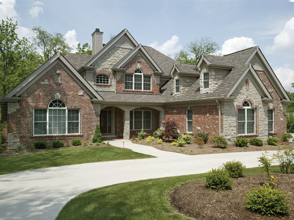 neutral color traditional house