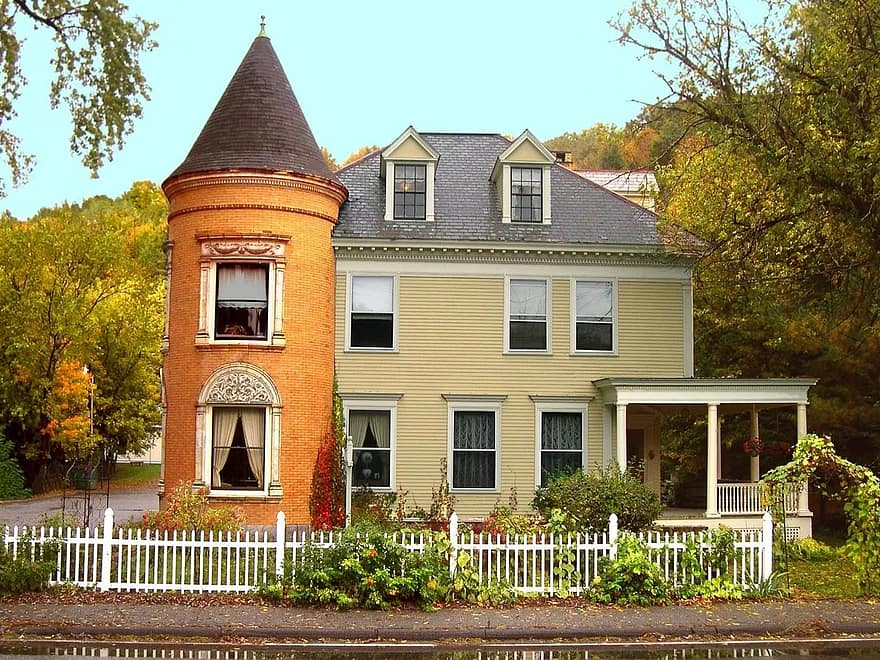 new england vermont colonial house fall historic architecture country rural