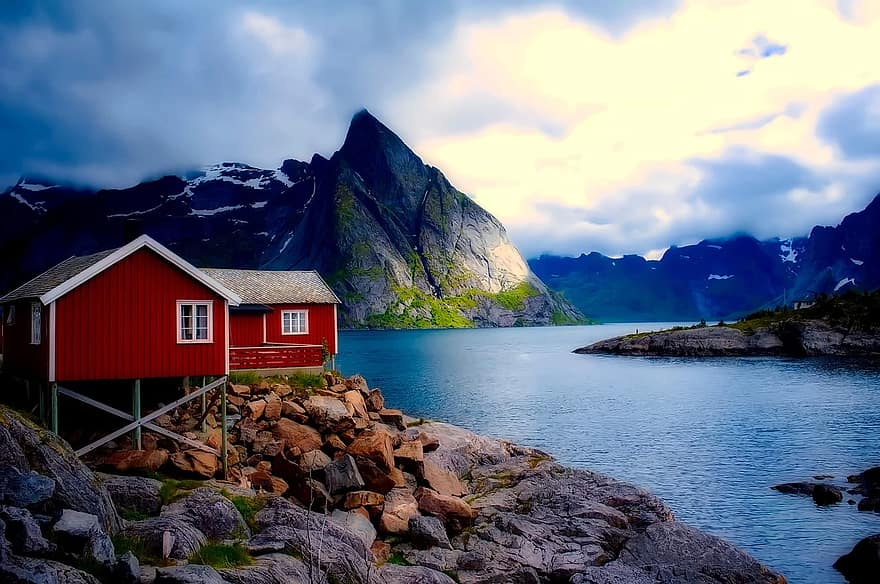 norway cottage house home mountains sky clouds sunset fjord