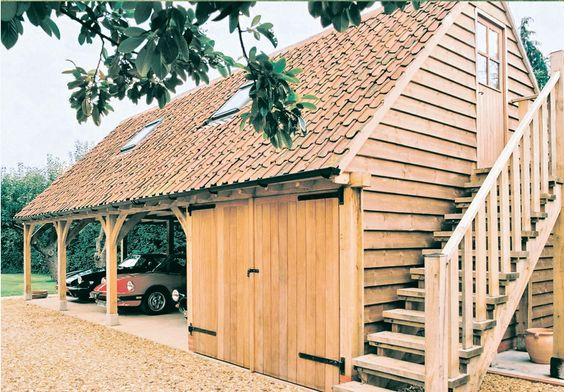 oak frame wooden garage