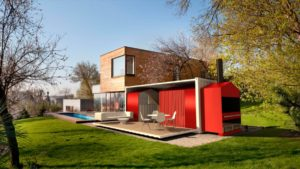 red two story container house