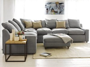 sofa grey sets with pillow and lots of seats with table