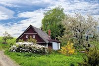 spring cottage house home garden grass landscape secluded