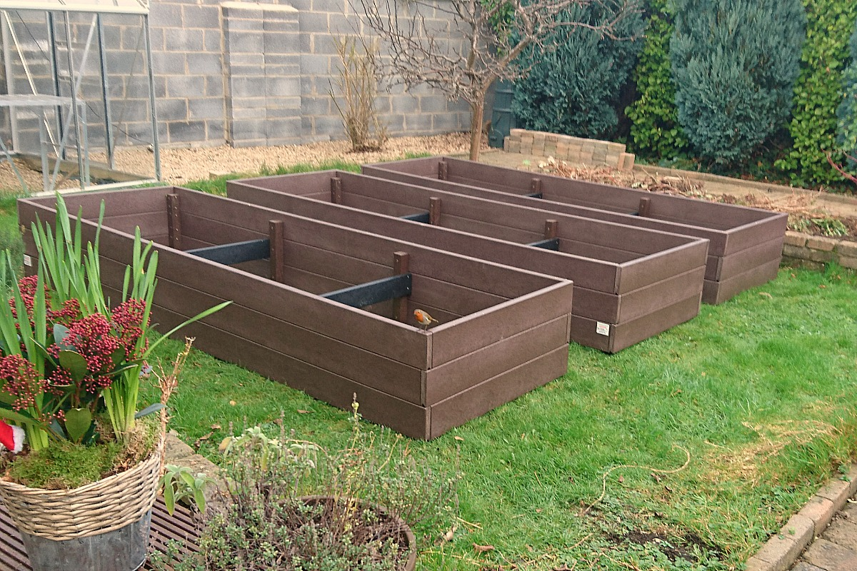 wood recycled box vegetable garden layout