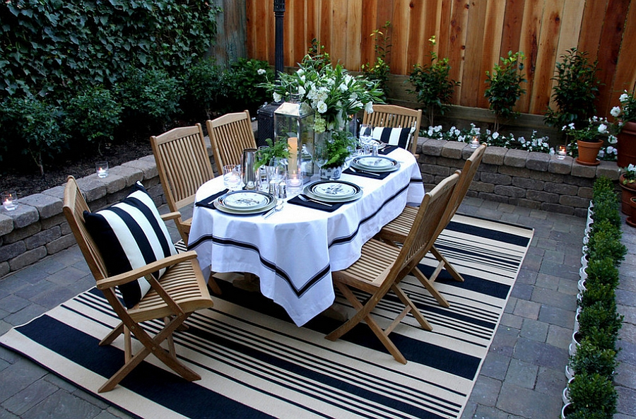 backyard dining area with rug