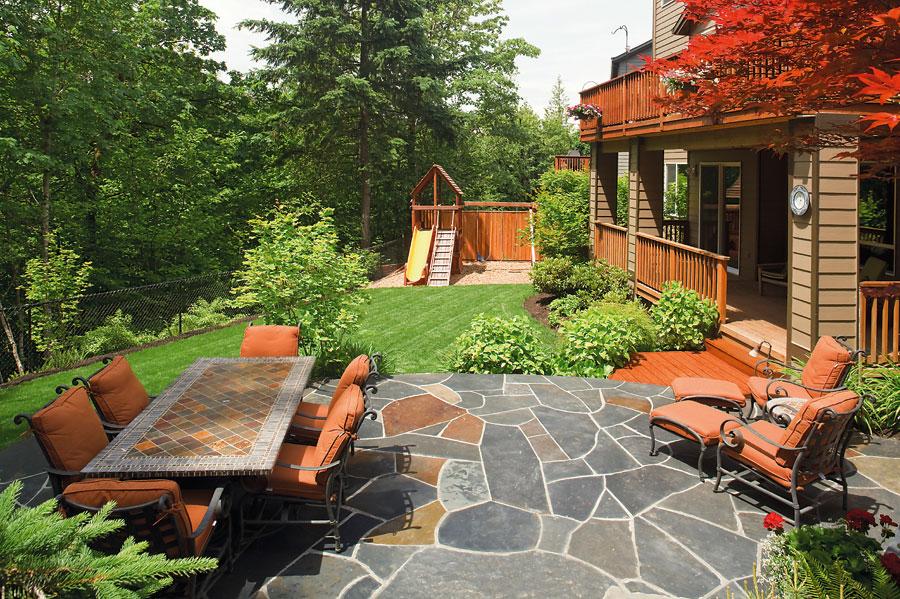 backyard paver with chair