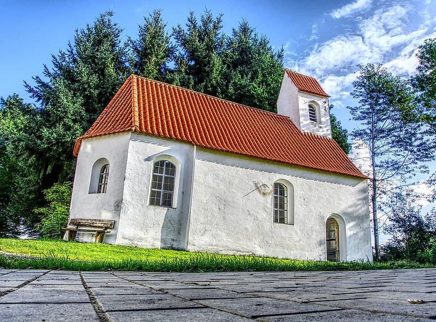 chapel church faith steeple bank landscape romance trees green