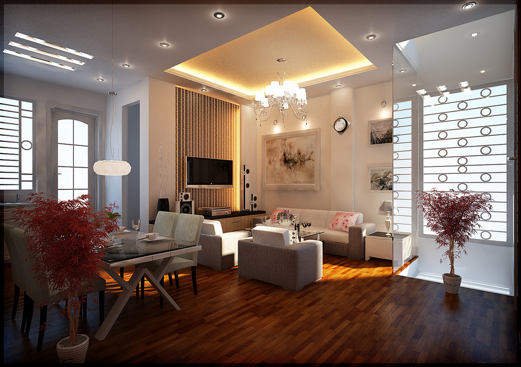 decoration with light design and wooden floor