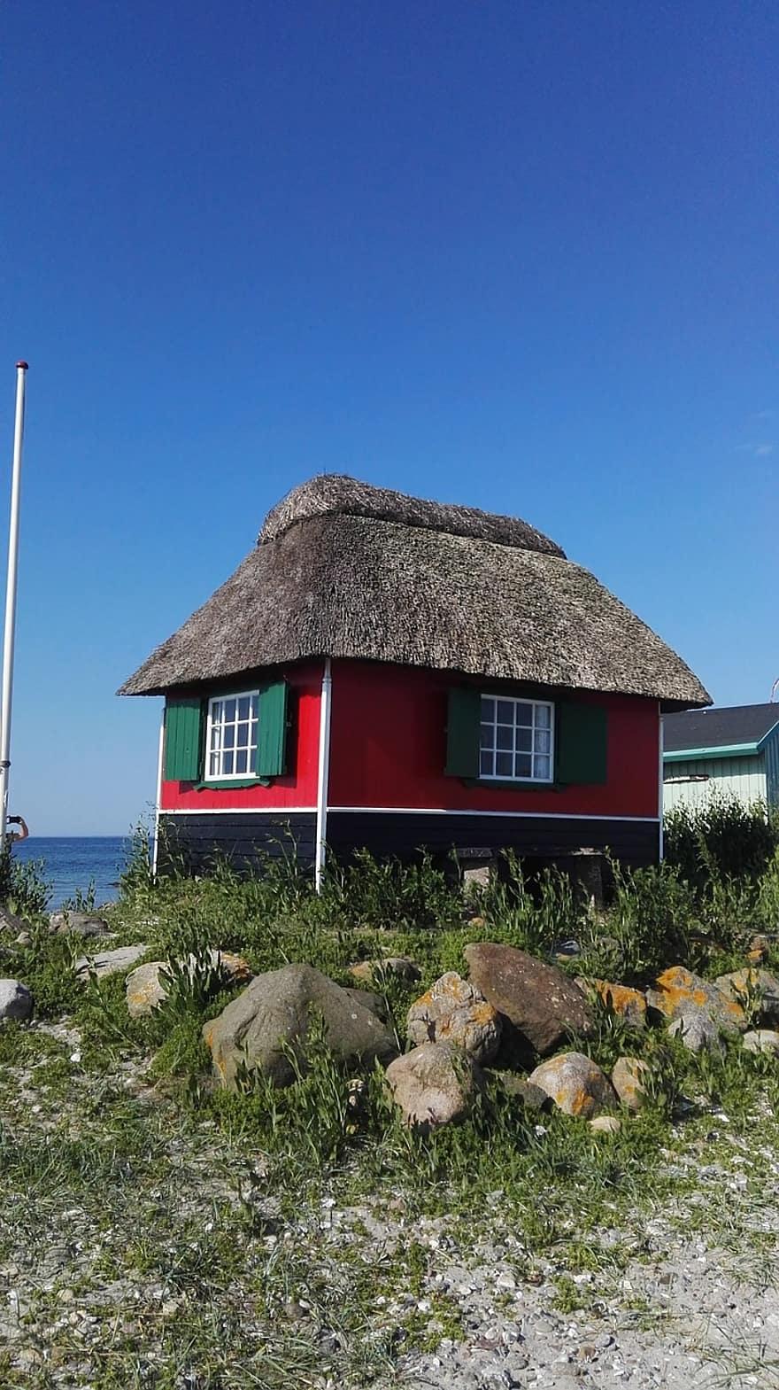 hut beach summer blue sand travel sky holiday house