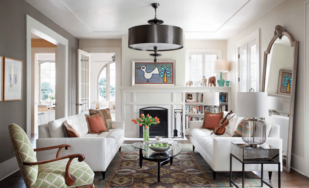Ornaments for living room interior design wallpaper