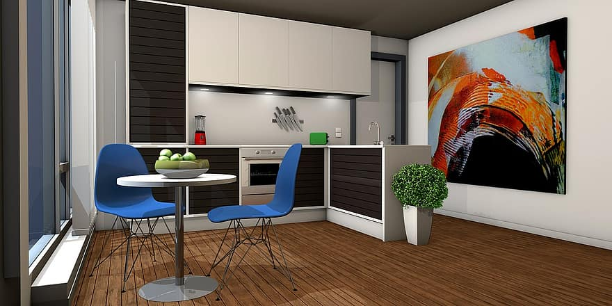 kitchen lichtraum gallery living room apartment graphic rendering architecture 3d visualization 1