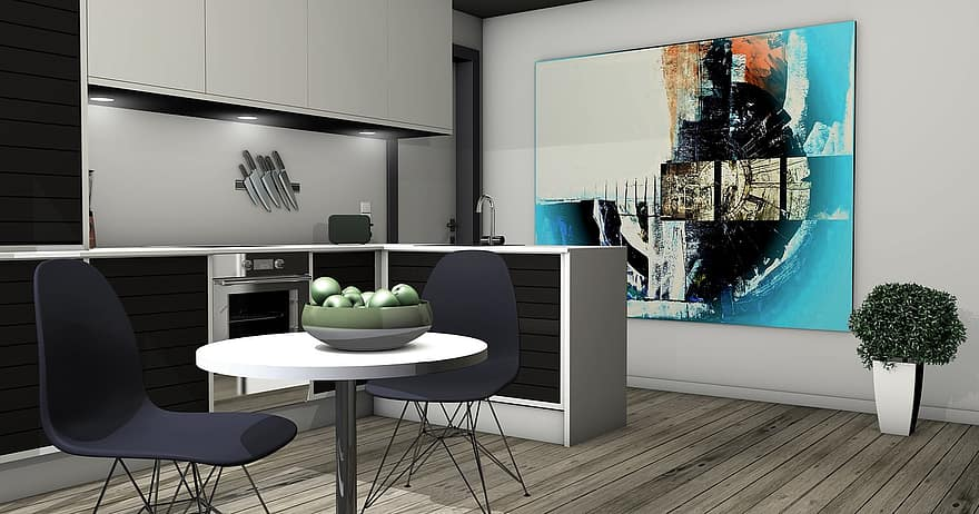kitchen lichtraum gallery living room apartment graphic rendering architecture 3d visualization