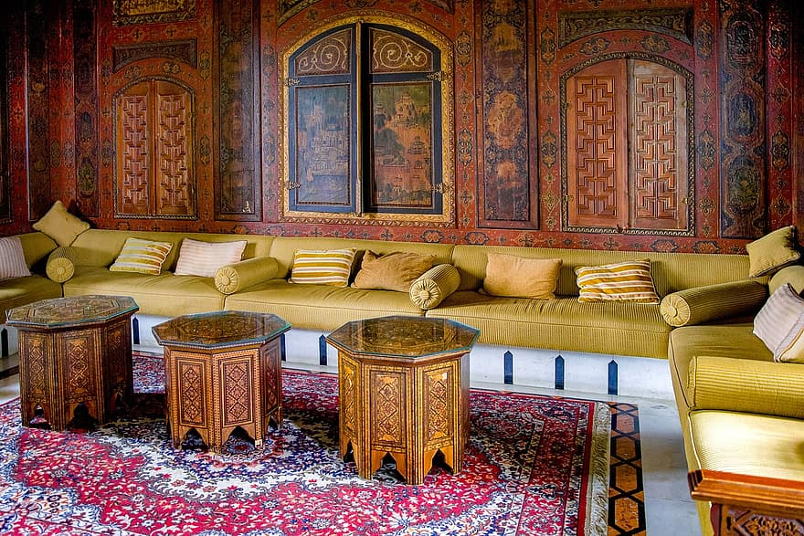 living room oriental palace sofa bench cushion painting wood decoration