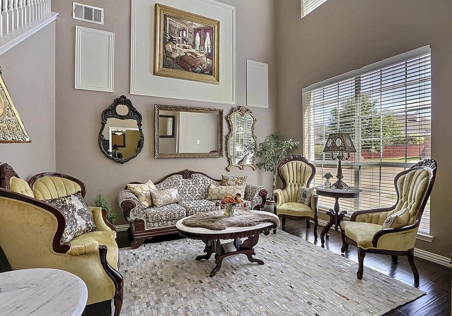 living room style antique chic vintage retro design elegant