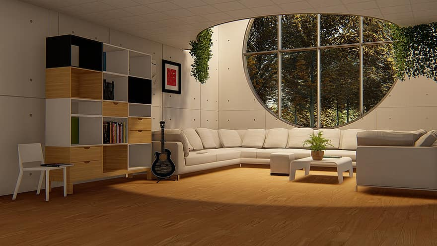 round window living room sofa set drawing room wood floor home luxury style hotel