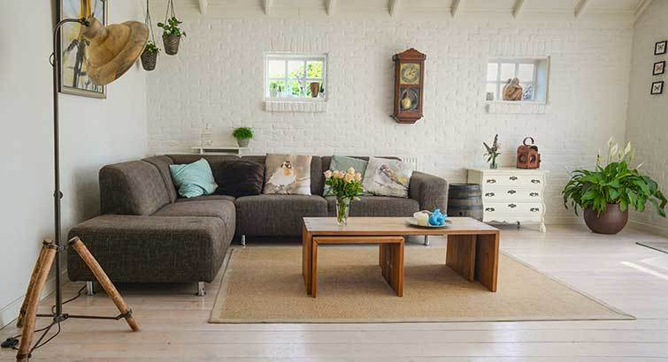 simple living room decoration with floor carpet
