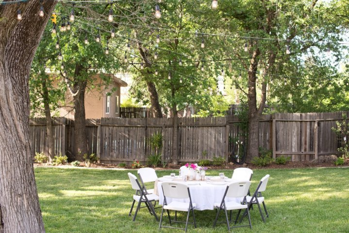 simple outdoor backyard dining room