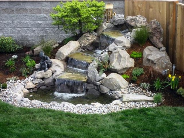 small backyard waterfall