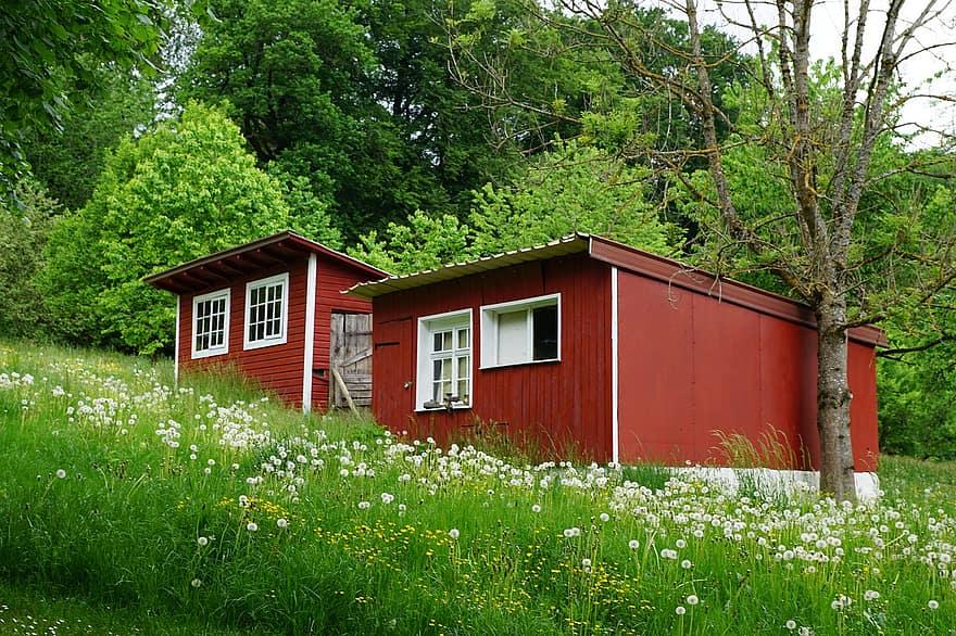 small house barn tiny home mini meadow field finish wood