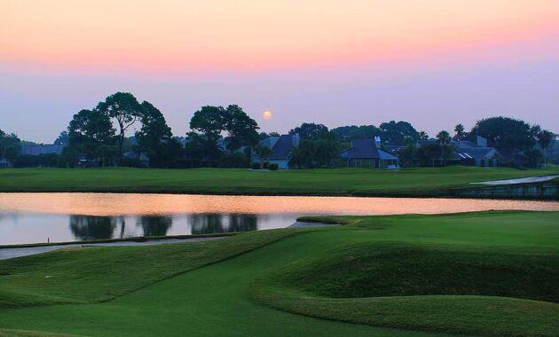 sunset over the golf course grass golf course summer