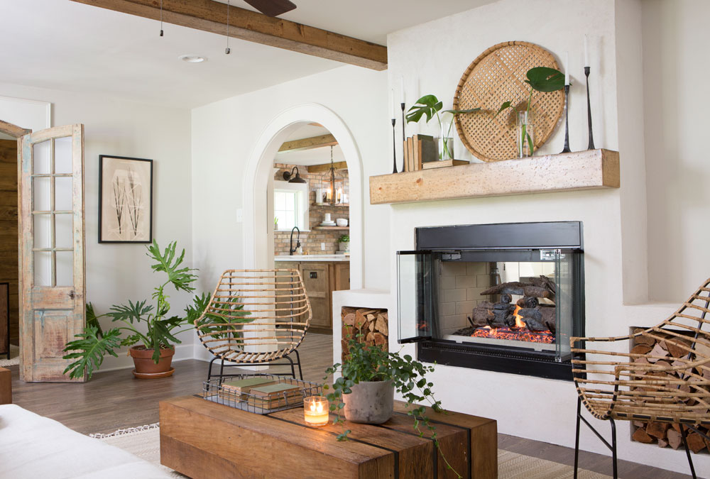 unique family room with fireplace