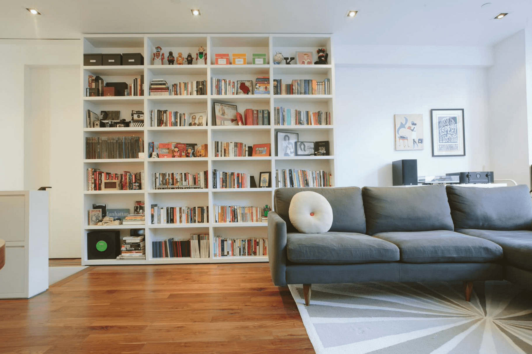 white living room shelving unit