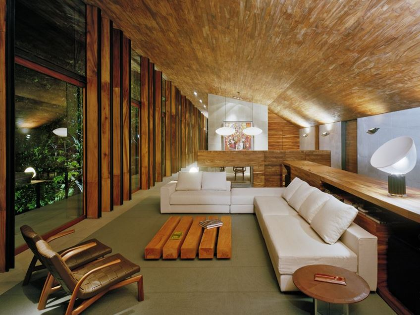 wooden house interior design living room area
