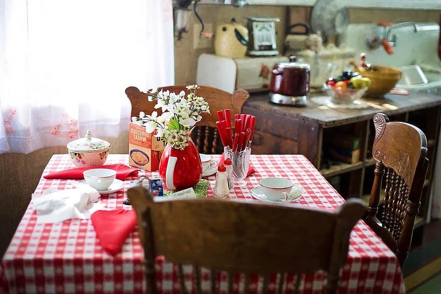 breakfast table kitchen table kitchen scene morning red