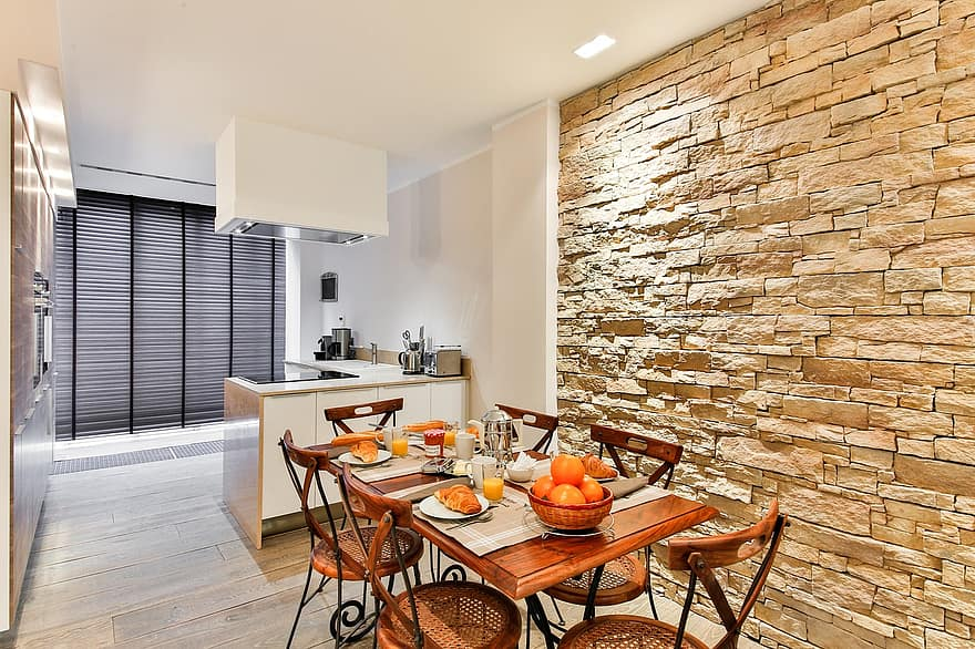 dining room kitchen modern style facing wall stone wall brickwall modern decor open kitchen 1