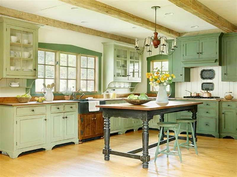 green vintage kitchen cabinets
