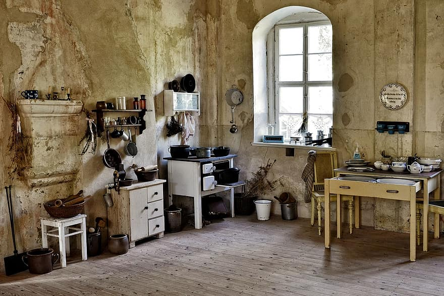kitchen old historically kitchen equipment table sink vintage kloden burg