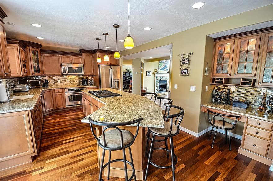 kitchen residential home house remodel granite counters kitchen island