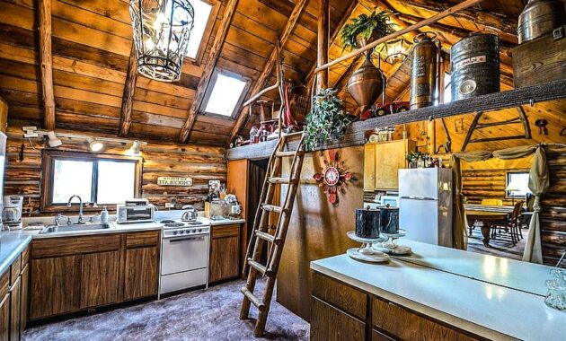 log cabin rustic home interior kitchen ladder rural wooden