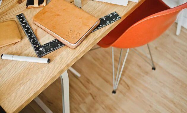 architect desk office workplace chair design hardwood notebook ruler