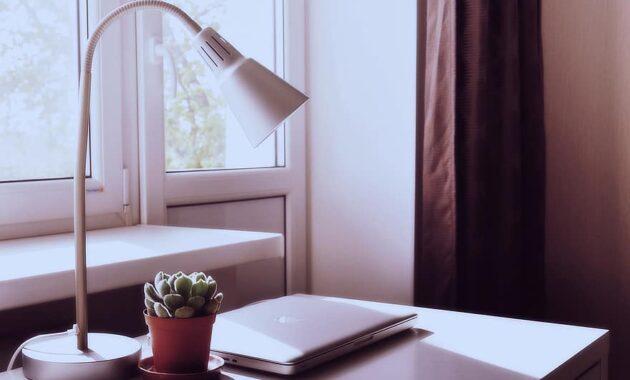 macbook laptop computer desk lamp plant pot room decor