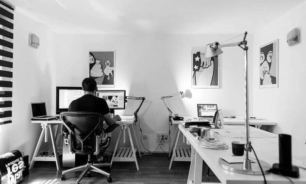office work desk computer workplace indoor business home office designer