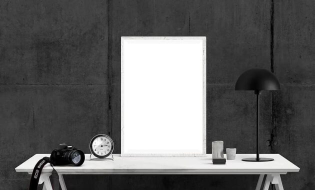 poster mockup imac interior desk